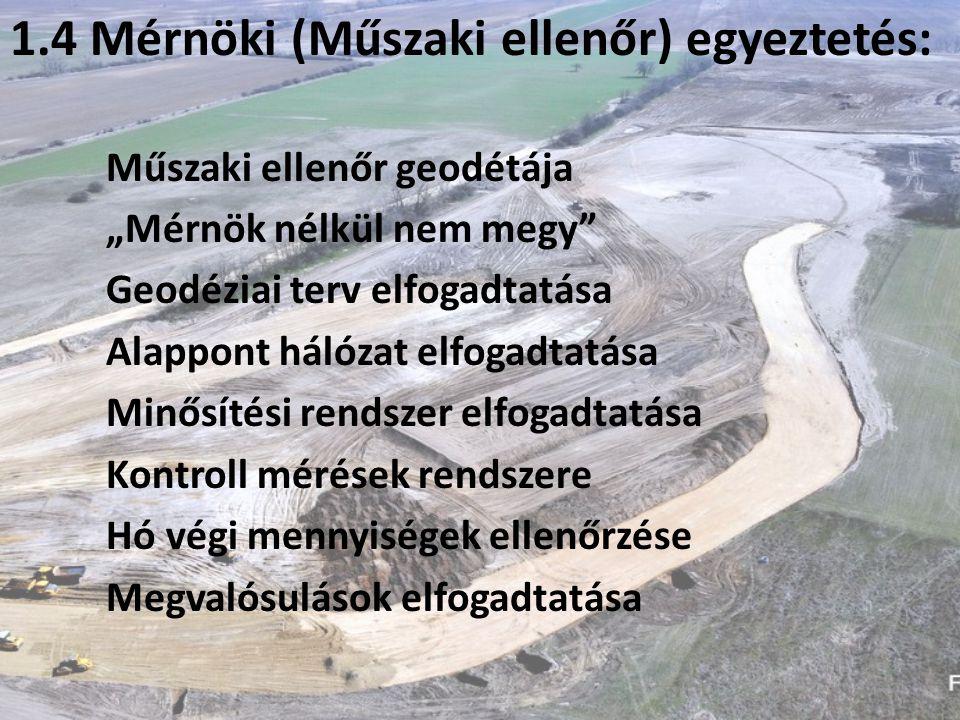 """1.4 Mérnöki (Műszaki ellenőr) egyeztetés: Műszaki ellenőr geodétája """"Mérnök nélkül nem megy Geodéziai terv elfogadtatása Alappont hálózat elfogadtatása Minősítési rendszer elfogadtatása Kontroll mérések rendszere Hó végi mennyiségek ellenőrzése Megvalósulások elfogadtatása"""