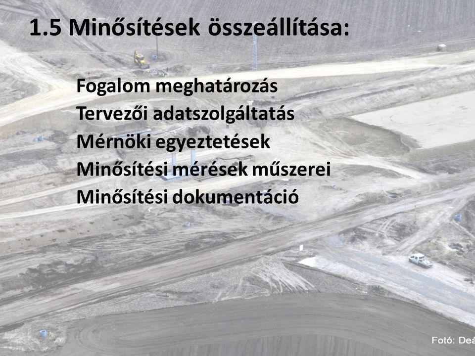 1.5 Minősítések összeállítása: Fogalom meghatározás Tervezői adatszolgáltatás Mérnöki egyeztetések Minősítési mérések műszerei Minősítési dokumentáció