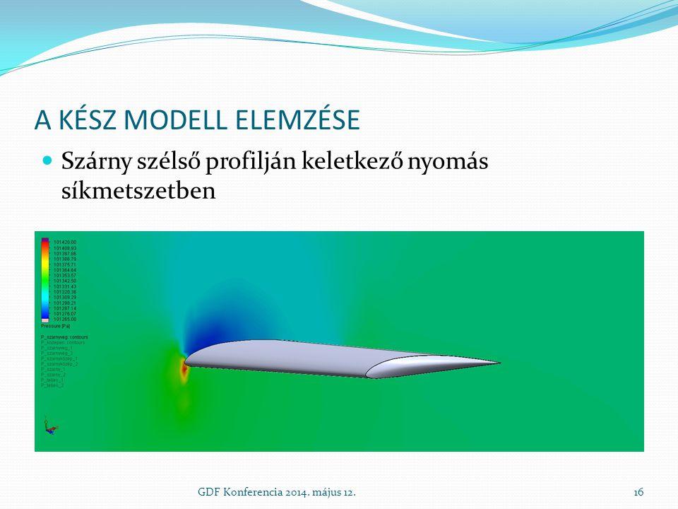 A KÉSZ MODELL ELEMZÉSE Szárny szélső profilján keletkező nyomás síkmetszetben GDF Konferencia 2014. május 12.16