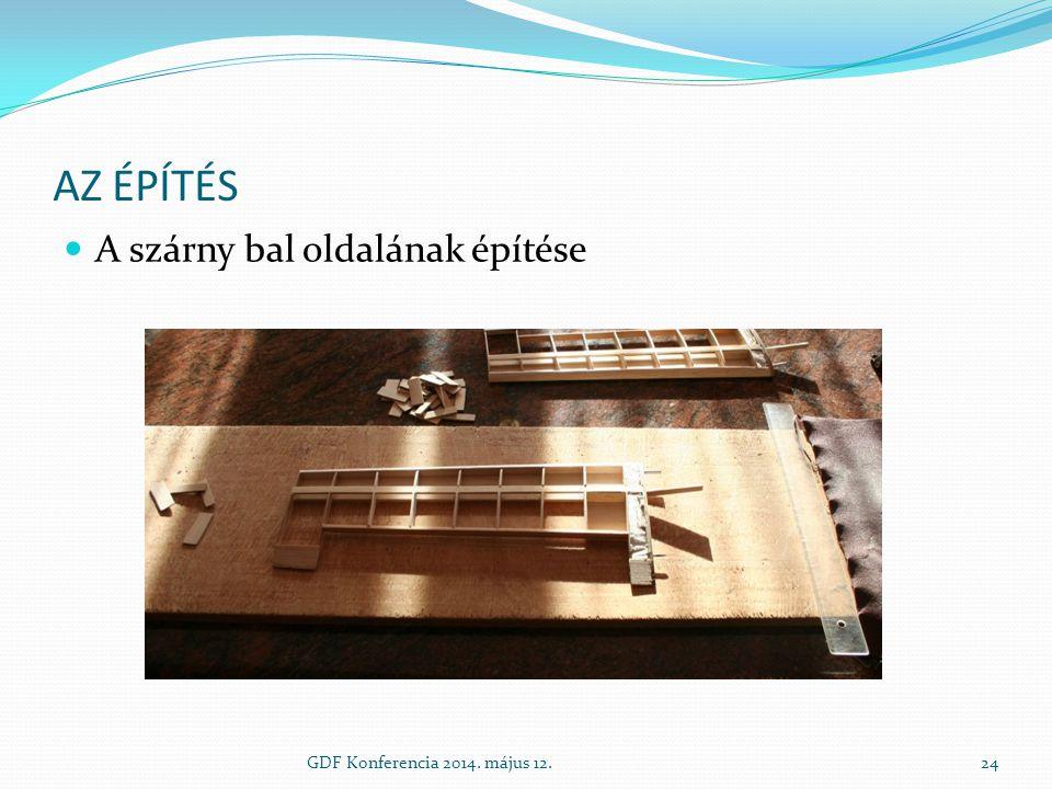 AZ ÉPÍTÉS A szárny bal oldalának építése GDF Konferencia 2014. május 12.24