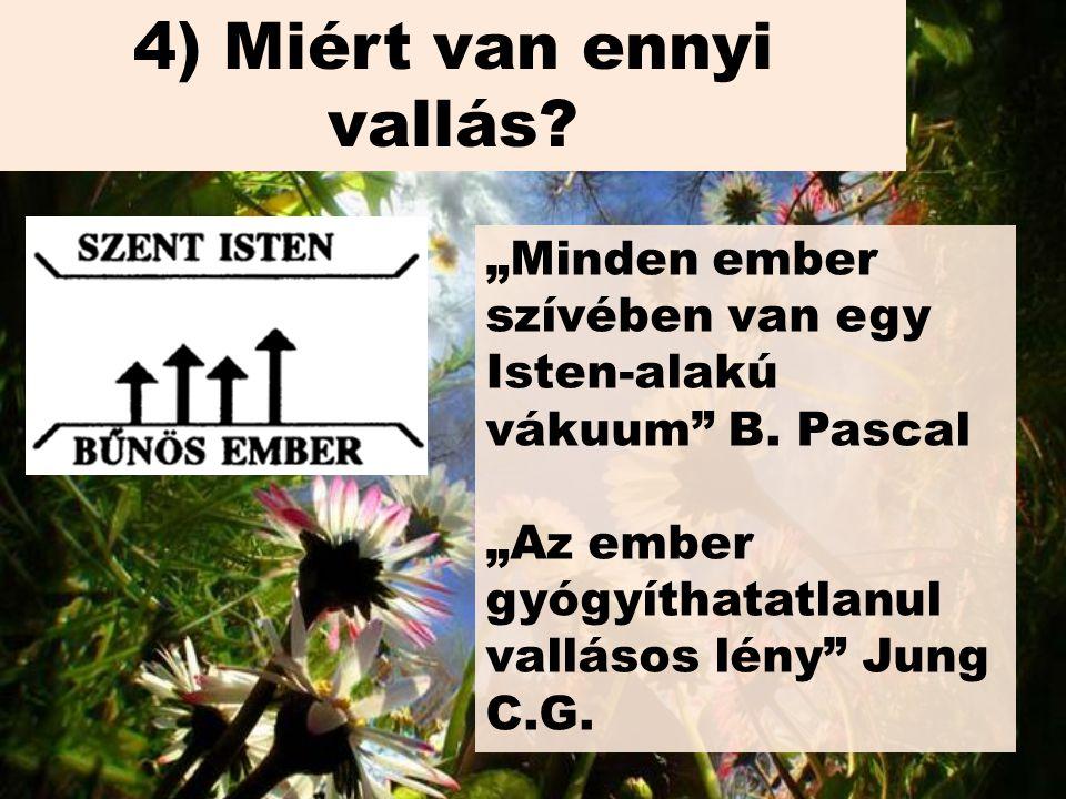 """4) Miért van ennyi vallás. """"Minden ember szívében van egy Isten-alakú vákuum B."""