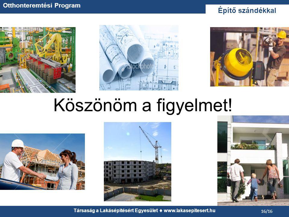 Társaság a Lakásépítésért Egyesület  www.lakasepitesert.hu 16/16 Köszönöm a figyelmet.