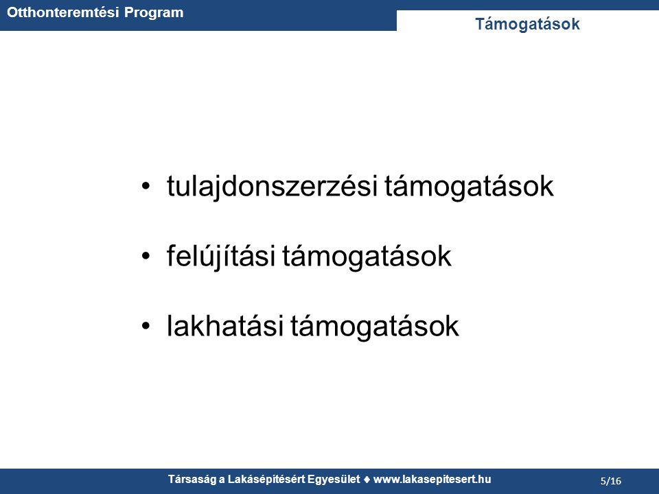 Társaság a Lakásépítésért Egyesület  www.lakasepitesert.hu 5/16 tulajdonszerzési támogatások felújítási támogatások lakhatási támogatások Támogatások Otthonteremtési Program