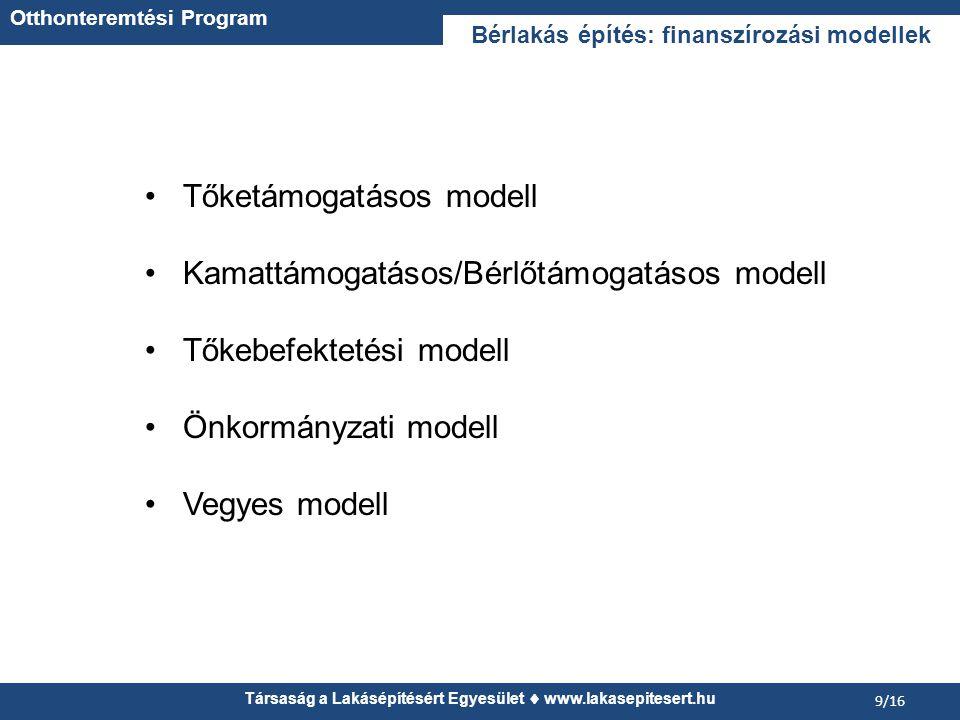 Társaság a Lakásépítésért Egyesület  www.lakasepitesert.hu 9/16 Tőketámogatásos modell Kamattámogatásos/Bérlőtámogatásos modell Tőkebefektetési modell Önkormányzati modell Vegyes modell Bérlakás építés: finanszírozási modellek Otthonteremtési Program