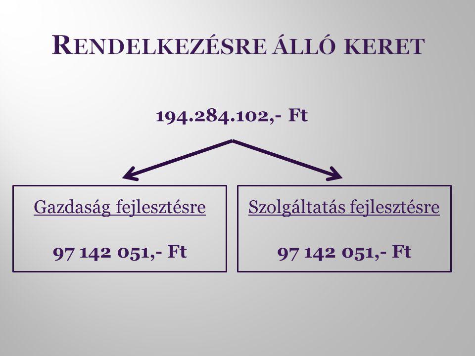 194.284.102,- Ft Gazdaság fejlesztésre 97 142 051,- Ft Szolgáltatás fejlesztésre 97 142 051,- Ft