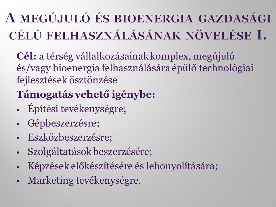 Cél: a térség vállalkozásainak komplex, megújuló és/vagy bioenergia felhasználására épülő technológiai fejlesztések ösztönzése Támogatás vehető igénybe:  Építési tevékenységre;  Gépbeszerzésre;  Eszközbeszerzésre;  Szolgáltatások beszerzésére;  Képzések előkészítésére és lebonyolítására;  Marketing tevékenységre.