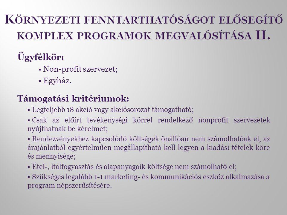 Ügyfélkör:  Non-profit szervezet;  Egyház. Támogatási kritériumok:  Legfeljebb 18 akció vagy akciósorozat támogatható;  Csak az előírt tevékenység