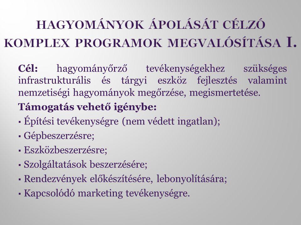 Cél: hagyományőrző tevékenységekhez szükséges infrastrukturális és tárgyi eszköz fejlesztés valamint nemzetiségi hagyományok megőrzése, megismertetése
