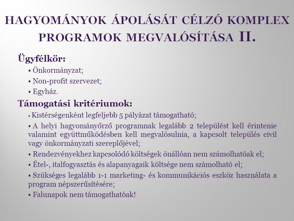 Ügyfélkör:  Önkormányzat;  Non-profit szervezet;  Egyház. Támogatási kritériumok:  Kistérségenként legfeljebb 5 pályázat támogatható;  A helyi ha