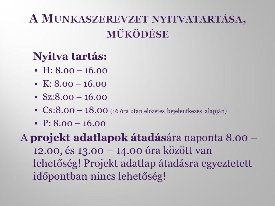  Nyitva tartás:  H: 8.00 – 16.00  K: 8.00 – 16.00  Sz:8.00 – 16.00  Cs:8.00 – 18.00 (16 óra után előzetes bejelentkezés alapján)  P: 8.00 – 16.00 A projekt adatlapok átadására naponta 8.00 – 12.00, és 13.00 – 14.00 óra között van lehetőség.