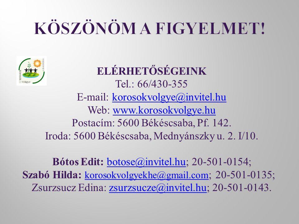 ELÉRHETŐSÉGEINK Tel.: 66/430-355 E-mail: korosokvolgye@invitel.hukorosokvolgye@invitel.hu Web: www.korosokvolgye.huwww.korosokvolgye.hu Postacím: 5600