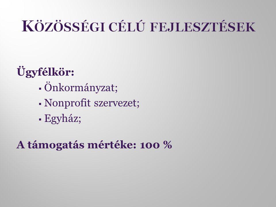 Ügyfélkör:  Önkormányzat;  Nonprofit szervezet;  Egyház; A támogatás mértéke: 100 %