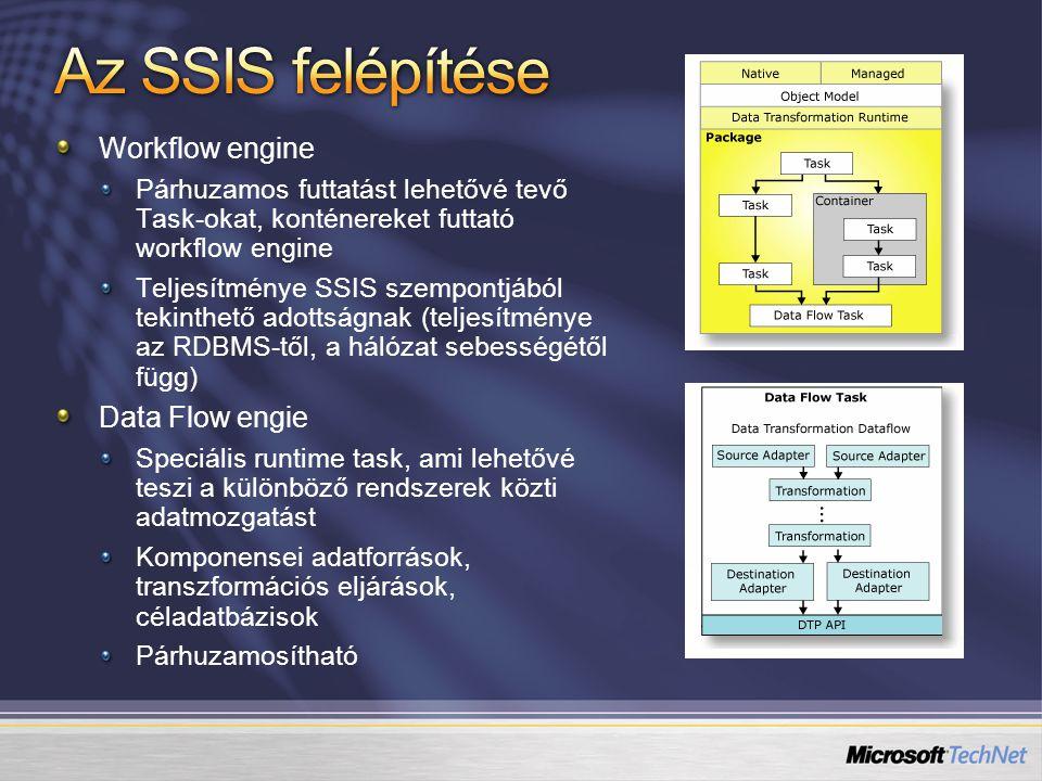 Workflow engine Párhuzamos futtatást lehetővé tevő Task-okat, konténereket futtató workflow engine Teljesítménye SSIS szempontjából tekinthető adottságnak (teljesítménye az RDBMS-től, a hálózat sebességétől függ) Data Flow engie Speciális runtime task, ami lehetővé teszi a különböző rendszerek közti adatmozgatást Komponensei adatforrások, transzformációs eljárások, céladatbázisok Párhuzamosítható