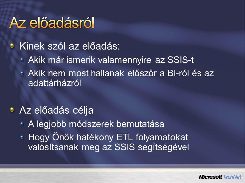 Kinek szól az előadás: Akik már ismerik valamennyire az SSIS-t Akik nem most hallanak először a BI-ról és az adattárházról Az előadás célja A legjobb módszerek bemutatása Hogy Önök hatékony ETL folyamatokat valósítsanak meg az SSIS segítségével