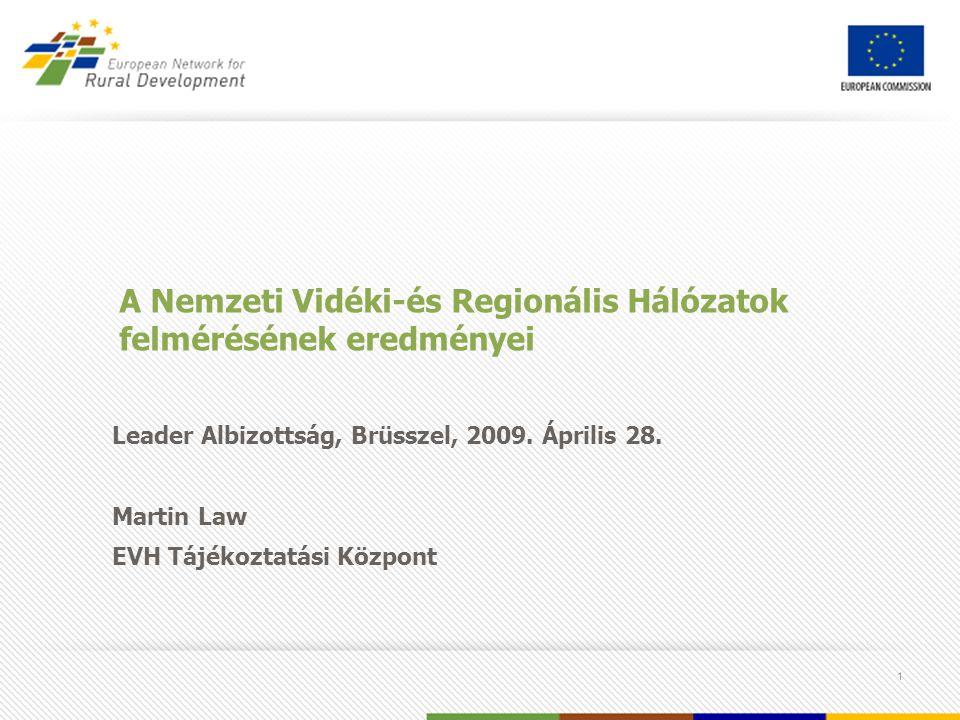 1 A Nemzeti Vidéki-és Regionális Hálózatok felmérésének eredményei Leader Albizottság, Brüsszel, 2009.