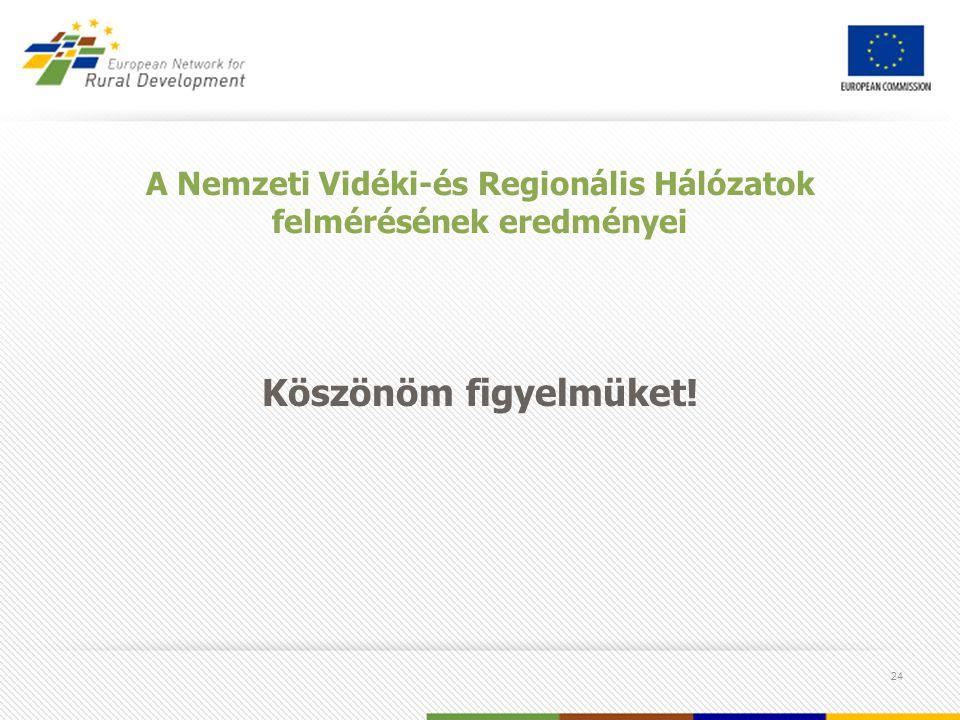 24 A Nemzeti Vidéki-és Regionális Hálózatok felmérésének eredményei Köszönöm figyelmüket!