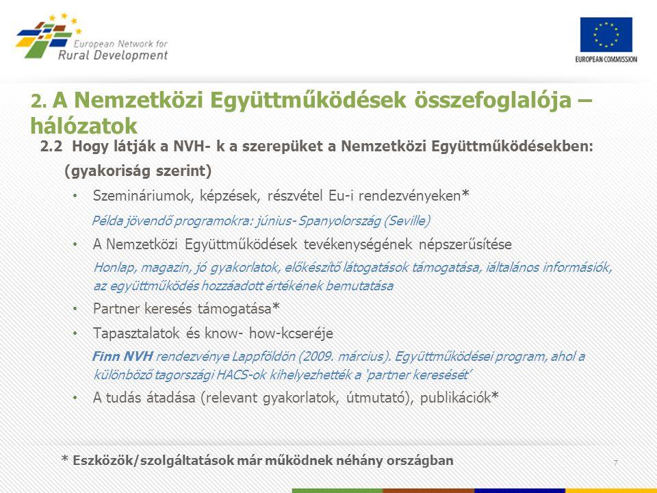 7 2. A Nemzetközi Együttműködések összefoglalója – hálózatok 2.2 Hogy látják a NVH- k a szerepüket a Nemzetközi Együttműködésekben: (gyakoriság szerin