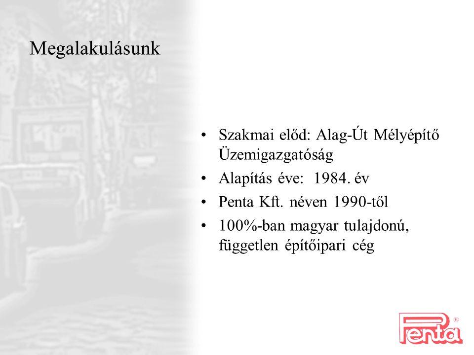 Megalakulásunk Szakmai előd: Alag-Út Mélyépítő Üzemigazgatóság Alapítás éve: 1984. év Penta Kft. néven 1990-től 100%-ban magyar tulajdonú, független é