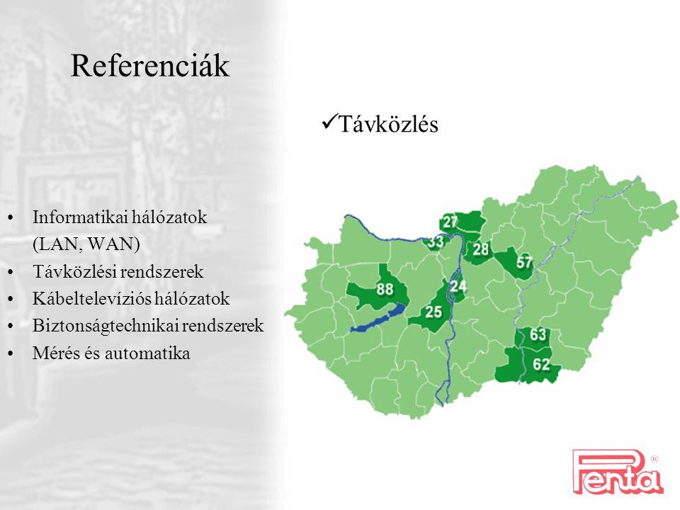 Informatikai hálózatok (LAN, WAN) Távközlési rendszerek Kábeltelevíziós hálózatok Biztonságtechnikai rendszerek Mérés és automatika Referenciák T ávkö