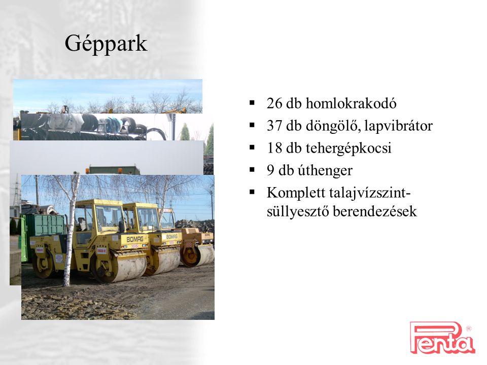 Géppark  26 db homlokrakodó  37 db döngölő, lapvibrátor  18 db tehergépkocsi  9 db úthenger  Komplett talajvízszint- süllyesztő berendezések