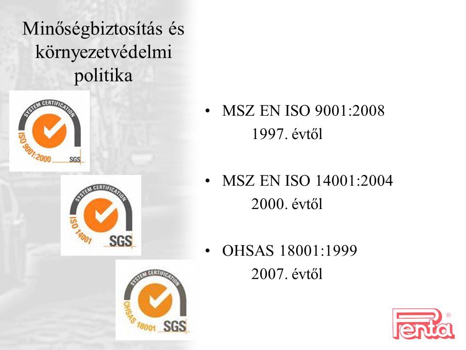 Minőségbiztosítás és környezetvédelmi politika MSZ EN ISO 9001:2008 1997. évtől MSZ EN ISO 14001:2004 2000. évtől OHSAS 18001:1999 2007. évtől