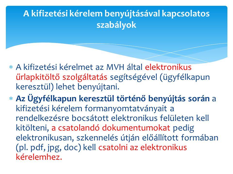  A kifizetési kérelmet az MVH által elektronikus űrlapkitöltő szolgáltatás segítségével (ügyfélkapun keresztül) lehet benyújtani.