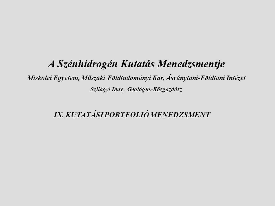 IX. KUTATÁSI PORTFOLIÓ MENEDZSMENT A Szénhidrogén Kutatás Menedzsmentje Miskolci Egyetem, Műszaki Földtudományi Kar, Ásványtani-Földtani Intézet Szilá