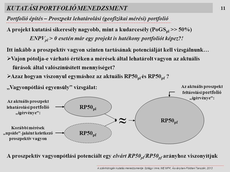 KUTATÁSI PORTFOLIÓ MENEDZSMENT 11 A szénhidrogén kutatás menedzsmentje. Szilágyi Imre, ME MFK, Ásványtani-Földtani Tanszék, 2013 A projekt kutatási si