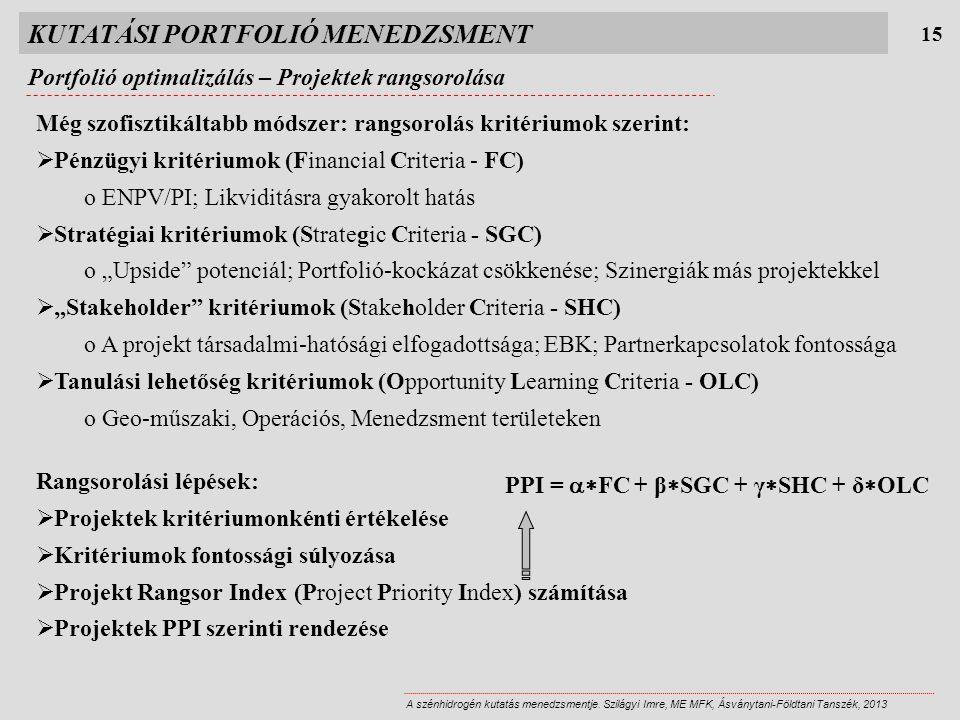 KUTATÁSI PORTFOLIÓ MENEDZSMENT Portfolió optimalizálás – Projektek rangsorolása 15 A szénhidrogén kutatás menedzsmentje.