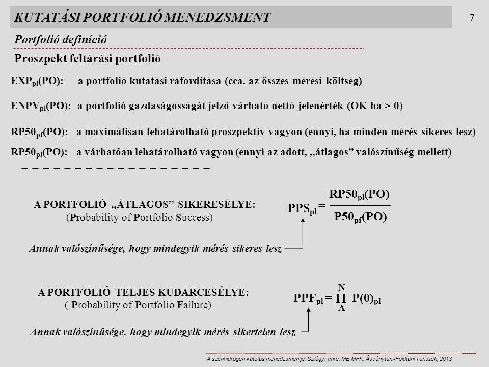 KUTATÁSI PORTFOLIÓ MENEDZSMENT Portfolió definíció 7 A szénhidrogén kutatás menedzsmentje. Szilágyi Imre, ME MFK, Ásványtani-Földtani Tanszék, 2013 Pr