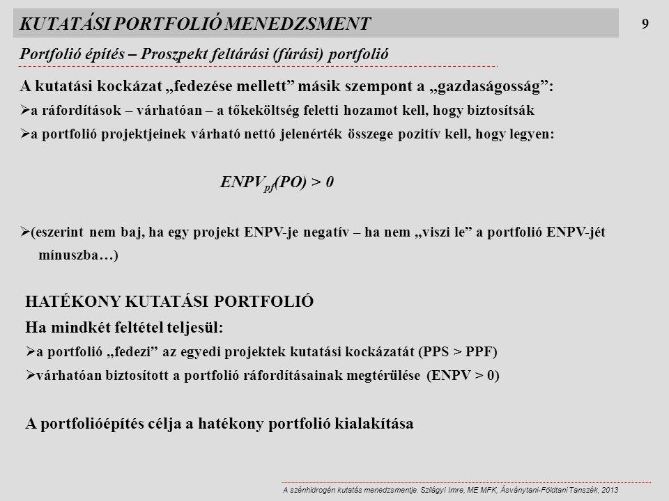 """KUTATÁSI PORTFOLIÓ MENEDZSMENT 9 A szénhidrogén kutatás menedzsmentje. Szilágyi Imre, ME MFK, Ásványtani-Földtani Tanszék, 2013 A kutatási kockázat """"f"""