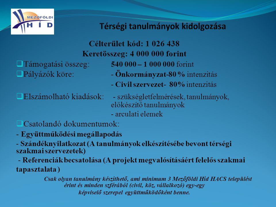 Célterület kód: 1 026 438 Keretösszeg: 4 000 000 forint  Támogatási összeg: 540 000 – 1 000 000 forint  Pályázók köre: - Önkormányzat-80 % intenzitás - Civil szervezet- 80% intenzitás  Elszámolható kiadások: - szükségletfelmérések, tanulmányok, előkészítő tanulmányok - arculati elemek  Csatolandó dokumentumok: - Együttműködési megállapodás - Szándéknyilatkozat (A tanulmányok elkészítésébe bevont térségi szakmai szervezetek) - Referenciák becsatolása (A projekt megvalósításáért felelős szakmai tapasztalata ) Csak olyan tanulmány készíthető, ami minimum 3 Mezőföldi Híd HACS települést érint és minden szférából (civil, köz, vállalkozó) egy-egy képviselő szerepel együttműködőként benne.