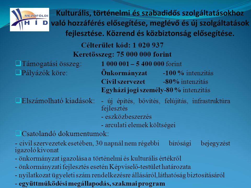 Célterület kód: 1 020 937 Keretösszeg: 75 000 000 forint  Támogatási összeg: 1 000 001 – 5 400 000 forint  Pályázók köre: Önkormányzat-100 % intenzi