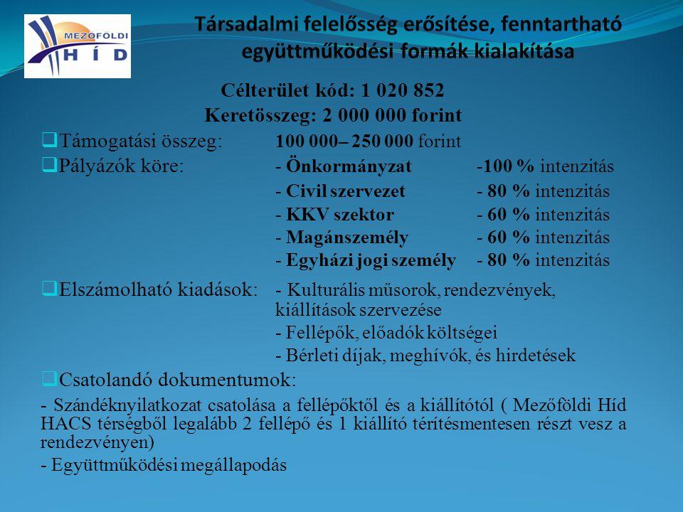 Célterület kód: 1 020 852 Keretösszeg: 2 000 000 forint  Támogatási összeg: 100 000– 250 000 forint  Pályázók köre: - Önkormányzat-100 % intenzitás