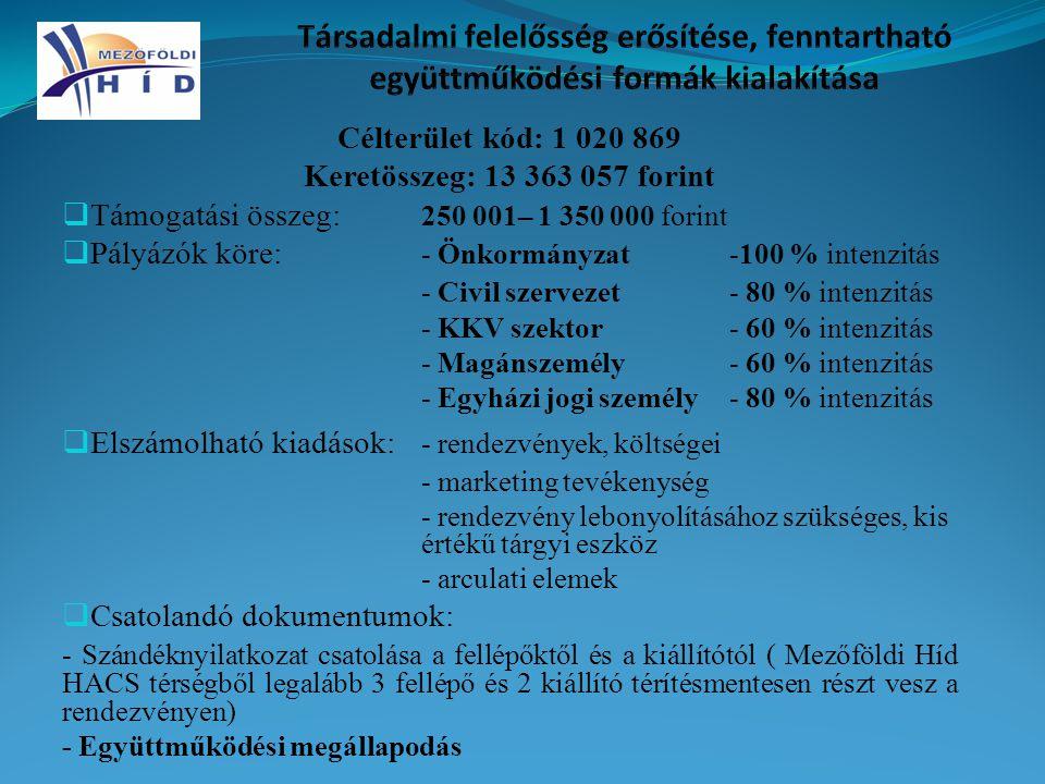 Célterület kód: 1 020 869 Keretösszeg: 13 363 057 forint  Támogatási összeg: 250 001– 1 350 000 forint  Pályázók köre: - Önkormányzat-100 % intenzitás - Civil szervezet- 80 % intenzitás - KKV szektor- 60 % intenzitás - Magánszemély- 60 % intenzitás - Egyházi jogi személy- 80 % intenzitás  Elszámolható kiadások: - rendezvények, költségei - marketing tevékenység - rendezvény lebonyolításához szükséges, kis értékű tárgyi eszköz - arculati elemek  Csatolandó dokumentumok: - Szándéknyilatkozat csatolása a fellépőktől és a kiállítótól ( Mezőföldi Híd HACS térségből legalább 3 fellépő és 2 kiállító térítésmentesen részt vesz a rendezvényen) - Együttműködési megállapodás