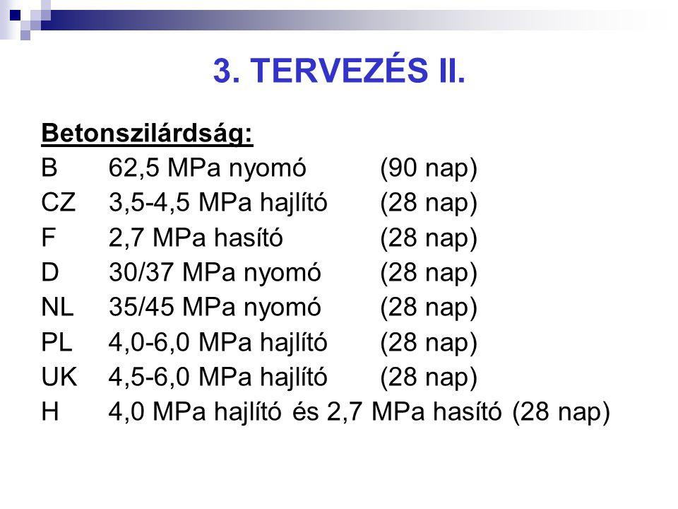3. TERVEZÉS II. Betonszilárdság: B62,5 MPa nyomó(90 nap) CZ3,5-4,5 MPa hajlító(28 nap) F2,7 MPa hasító(28 nap) D30/37 MPa nyomó(28 nap) NL35/45 MPa ny