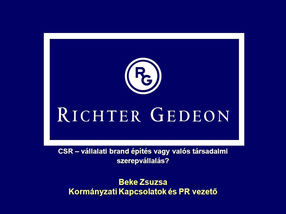 Beke Zsuzsa Kormányzati Kapcsolatok és PR vezető CSR – vállalati brand építés vagy valós társadalmi szerepvállalás?