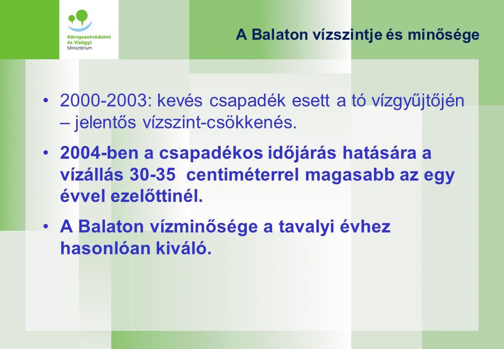 A Balaton vízszintje és minősége 2000-2003: kevés csapadék esett a tó vízgyűjtőjén – jelentős vízszint-csökkenés.