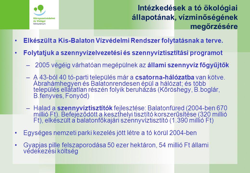 Intézkedések a tó ökológiai állapotának, vízminőségének megőrzésére Elkészült a Kis-Balaton Vízvédelmi Rendszer folytatásnak a terve.