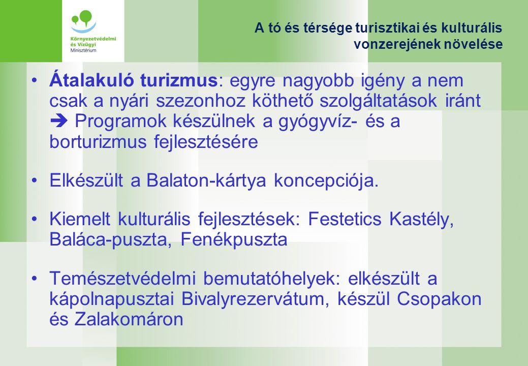 A tó és térsége turisztikai és kulturális vonzerejének növelése Átalakuló turizmus: egyre nagyobb igény a nem csak a nyári szezonhoz köthető szolgáltatások iránt  Programok készülnek a gyógyvíz- és a borturizmus fejlesztésére Elkészült a Balaton-kártya koncepciója.