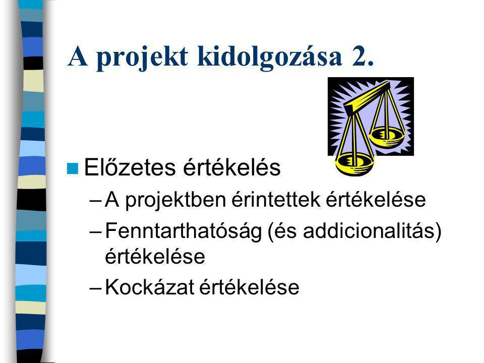 A projekt kidolgozása 2. Előzetes értékelés –A projektben érintettek értékelése –Fenntarthatóság (és addicionalitás) értékelése –Kockázat értékelése