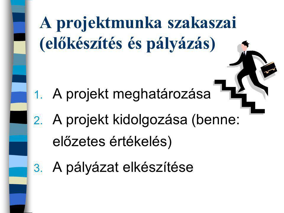 A projektmunka szakaszai (előkészítés és pályázás) 1. A projekt meghatározása 2. A projekt kidolgozása (benne: előzetes értékelés) 3. A pályázat elkés