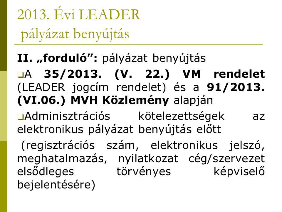 """2013. Évi LEADER pályázat benyújtás II. """"forduló : pályázat benyújtás  A 35/2013."""