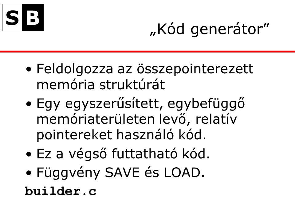 """SB """"Kód generátor Feldolgozza az összepointerezett memória struktúrát Egy egyszerűsített, egybefüggő memóriaterületen levő, relatív pointereket használó kód."""