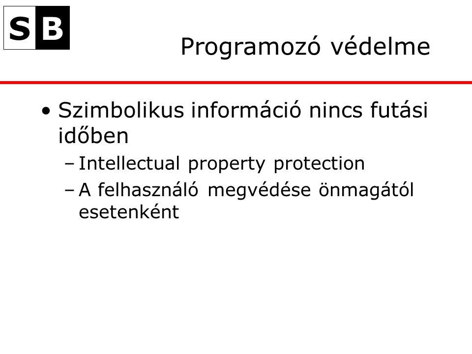 SB Programozó védelme Szimbolikus információ nincs futási időben –Intellectual property protection –A felhasználó megvédése önmagától esetenként