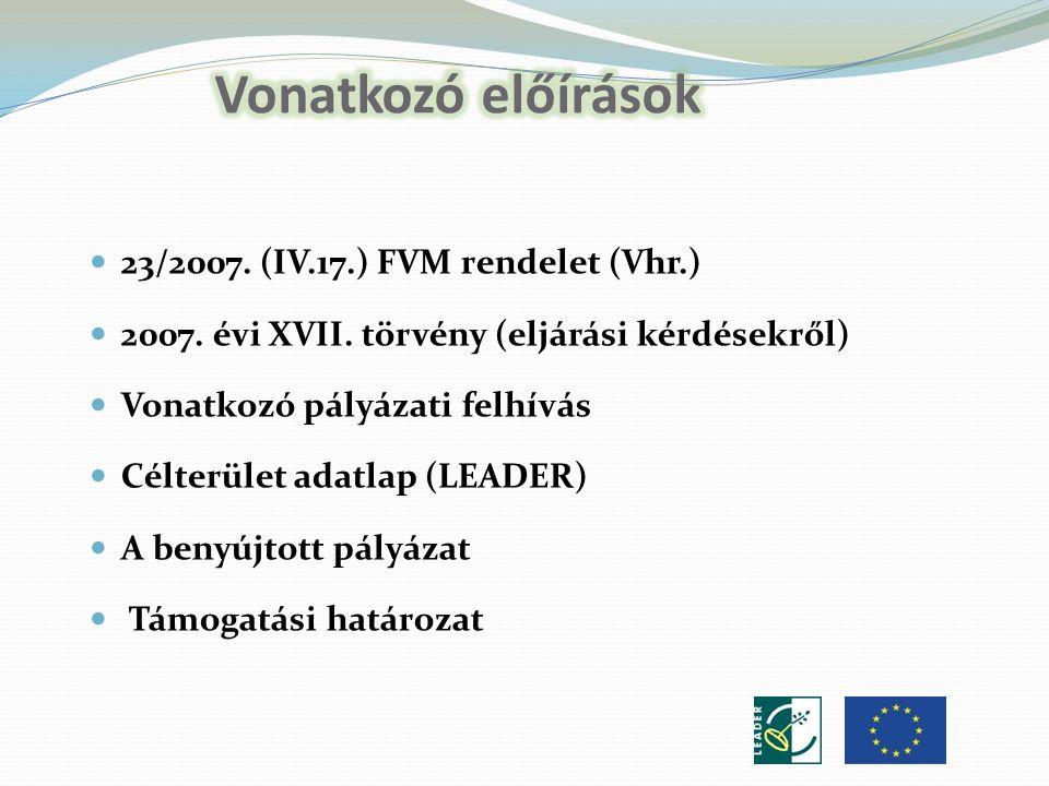 23/2007. (IV.17.) FVM rendelet (Vhr.) 2007. évi XVII.