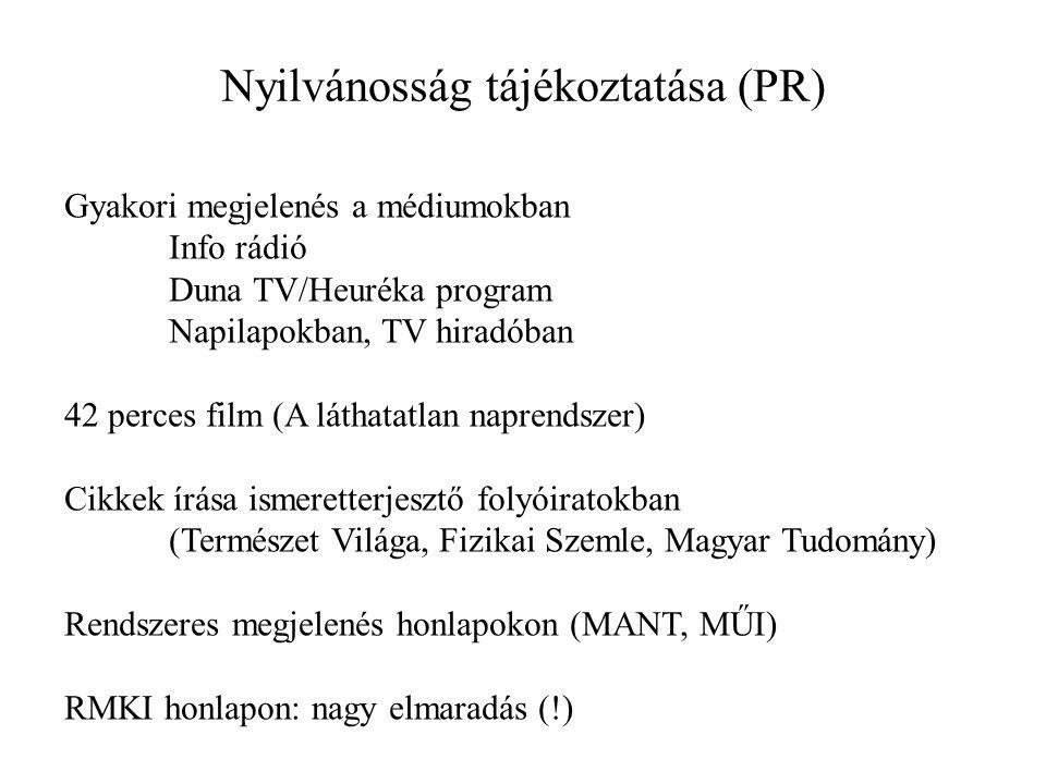 Nyilvánosság tájékoztatása (PR) Gyakori megjelenés a médiumokban Info rádió Duna TV/Heuréka program Napilapokban, TV hiradóban 42 perces film (A láthatatlan naprendszer) Cikkek írása ismeretterjesztő folyóiratokban (Természet Világa, Fizikai Szemle, Magyar Tudomány) Rendszeres megjelenés honlapokon (MANT, MŰI) RMKI honlapon: nagy elmaradás (!)