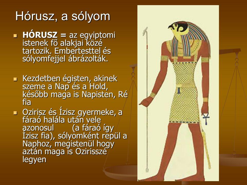 Hórusz, a sólyom HÓRUSZ = az egyiptomi istenek fő alakjai közé tartozik. Embertesttel és sólyomfejjel ábrázolták. HÓRUSZ = az egyiptomi istenek fő ala