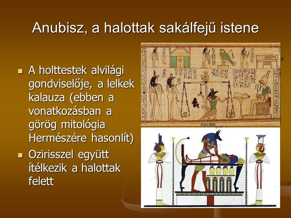 Anubisz, a halottak sakálfejű istene A holttestek alvilági gondviselője, a lelkek kalauza (ebben a vonatkozásban a görög mitológia Hermészére hasonlít
