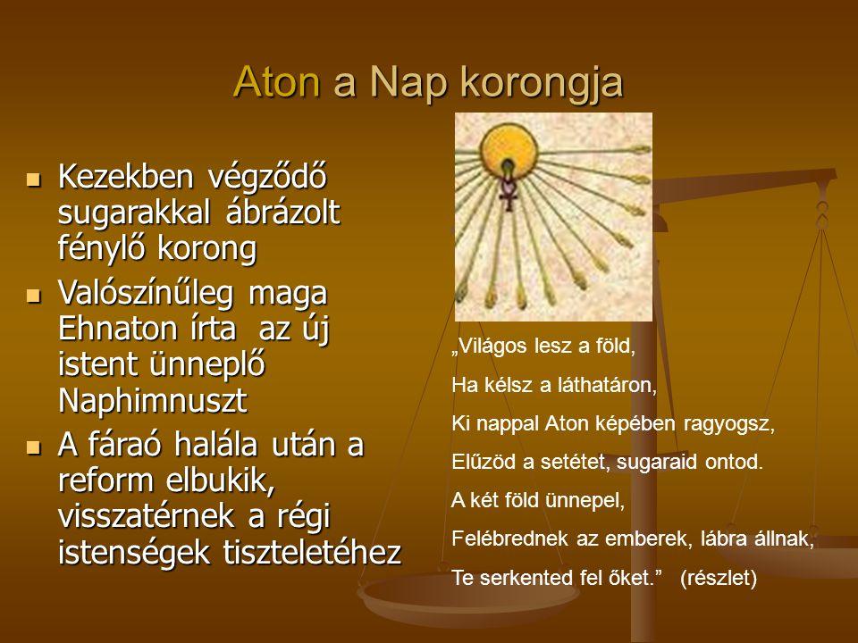 Aton a Nap korongja Kezekben végződő sugarakkal ábrázolt fénylő korong Kezekben végződő sugarakkal ábrázolt fénylő korong Valószínűleg maga Ehnaton ír